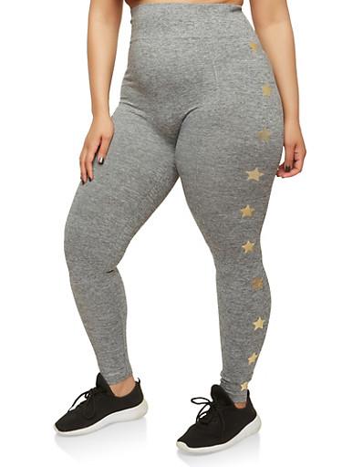 Plus Size Pintuck Star Print Leggings,GRAY,large
