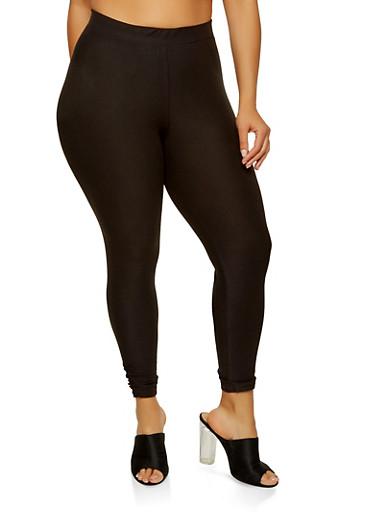 Plus Size Soft Knit Ruched Leggings,BLACK,large