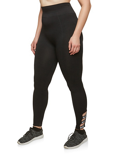 Plus Size Graphic Lattice Hem Leggings | Tuggl