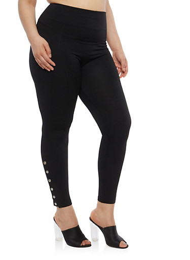 Plus Size Snap Bottom Leggings | Tuggl