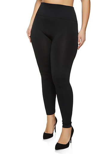 Plus Size Fleece Lined Solid Leggings,BLACK,large