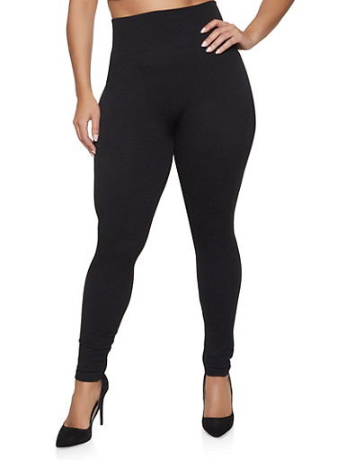 Plus Size French Terry Lined Leggings,BLACK,large