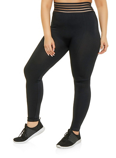 Plus Size Shadow Stripe Waistband Leggings,BLACK,large