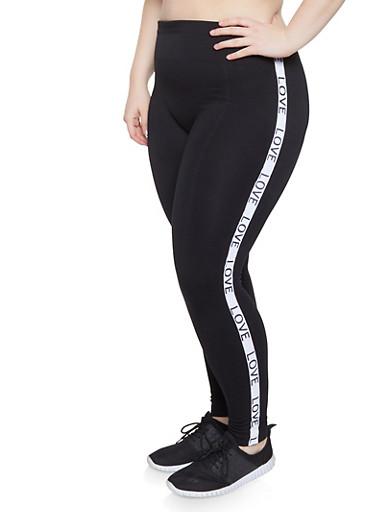Plus Size Love Graphic Pintuck Leggings,BLACK,large