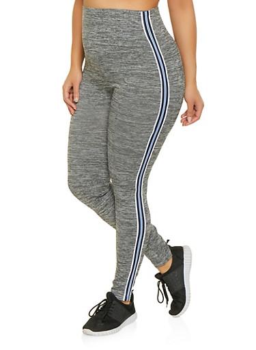 Plus Size Striped Tape Leggings,NAVY,large
