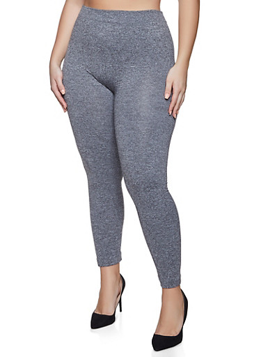 Plus Size Marled Fleece Lined Leggings,GRAY,large