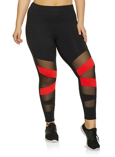 Plus Size Mesh Insert Active Pants,BLACK,large