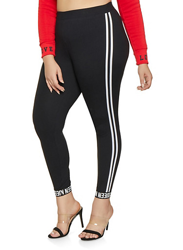 Plus Size Queen Graphic Varsity Stripe Leggings,BLACK,large