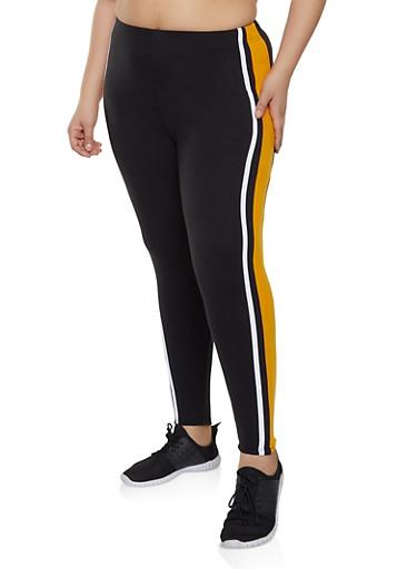 Plus Size Side Stripe Soft Knit Leggings,BLACK,large