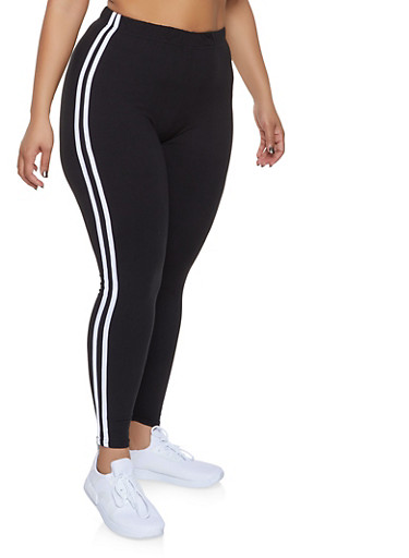 Plus Size Varsity Stripe Leggings,BLACK,large