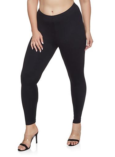 Plus Size Soft Knit Leggings,BLACK,large