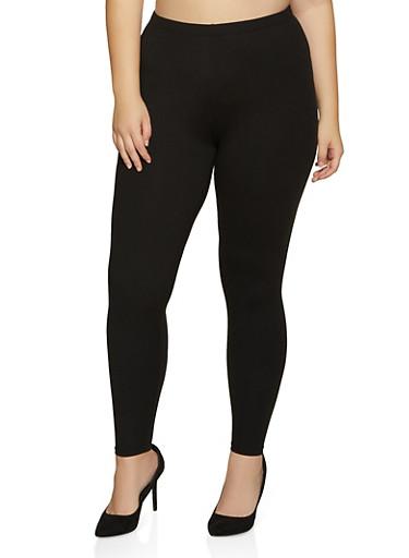 Plus Size Soft Knit Solid Leggings | 1969061636091,BLACK,large