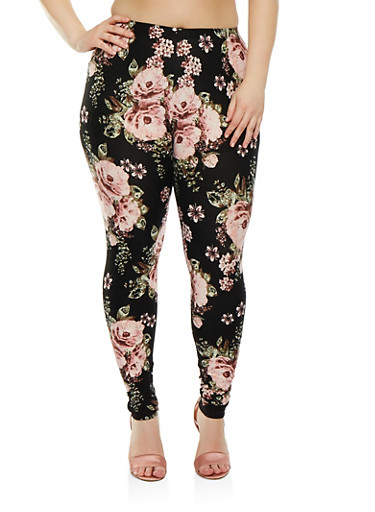 Plus Size Floral Leggings | Tuggl