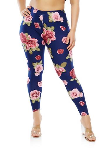 Plus Size Floral Leggings,NAVY,large