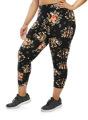 Plus Size Floral Cropped Leggings | Tuggl