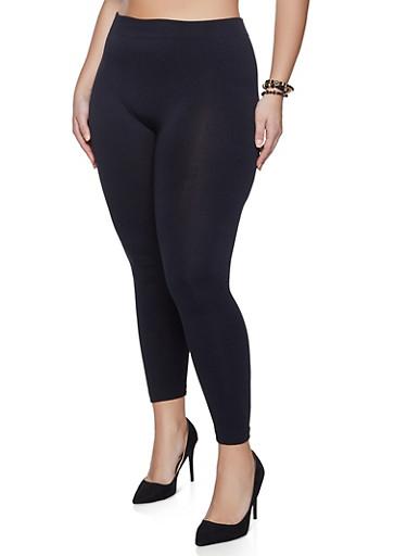 Plus Size Basic Fleece Lined Leggings,BLACK,large