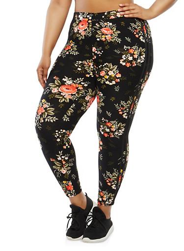 Plus Size Soft Knit Floral Leggings,BLACK,large