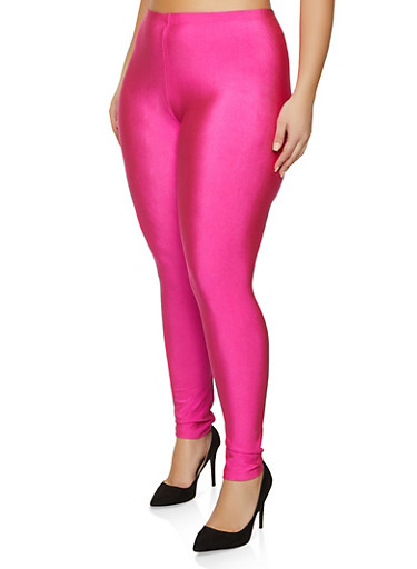 Plus Size Solid Stretch Leggings,PINK,large