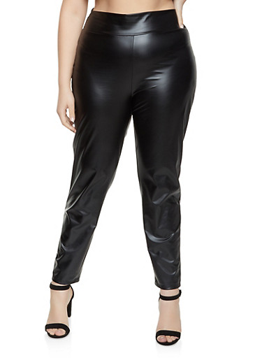 Plus Size Pull On Faux Leather Pants,BLACK,large