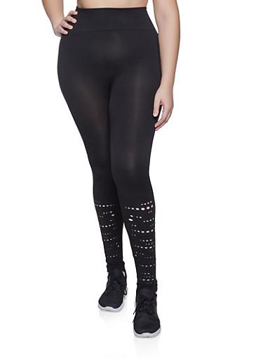 Plus Size Solid Laser Cut Leggings,BLACK,large
