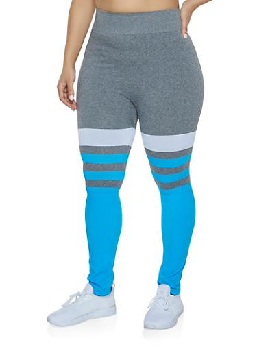 Plus Size Striped Color Block Leggings,TURQUOISE,large