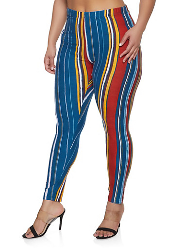 Plus Size Striped Soft Knit Leggings,TEAL,large