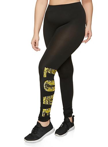 Plus Size Snake Print Love Leggings,NEON YELLOW,large