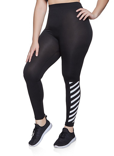 Plus Size Diagonal Striped Detail Leggings,BLACK/WHITE,large