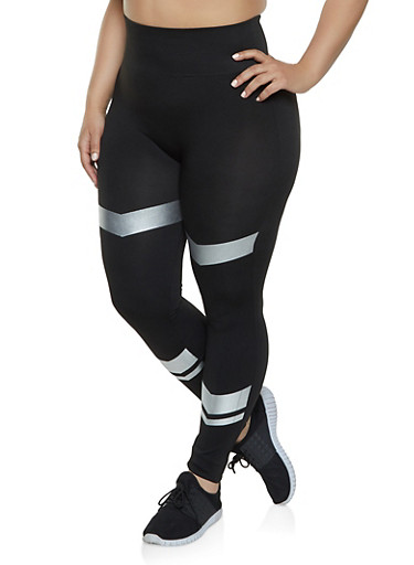 Plus Size Foil Accent Leggings,BLACK,large
