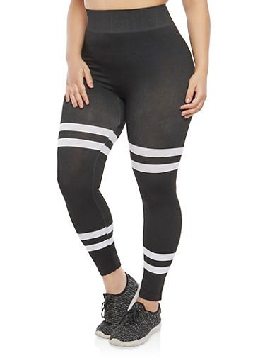 Plus Size Varsity Stripe Leggings,BLACK-WHITE,large