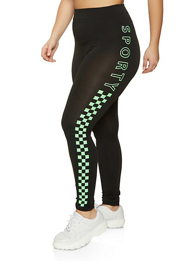 Plus Size Sporty Checkered Side Leggings,NEON LIME,large