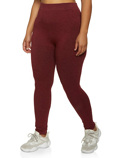 Plus Size Seamless Knit Leggings,WINE,large