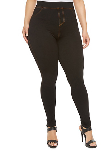 Plus Size Jeggings with Contrast Stitching,BLACK,large