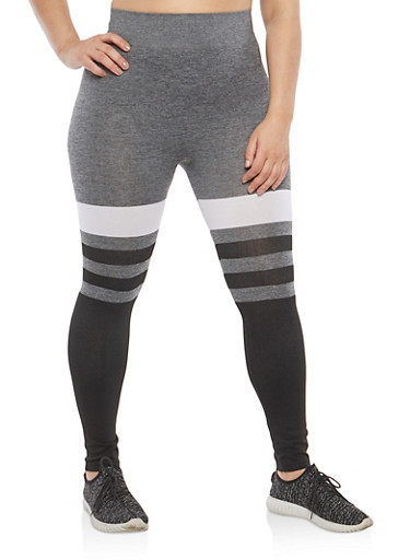 Plus Size Color Blocked Leggings,GRAY-WHITE-BLK,large