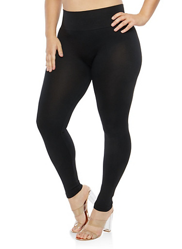 Plus Size Black Tummy Control Leggings,BLACK,large