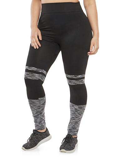 Plus Size Marled Detail Leggings,GRAY-BLK,large
