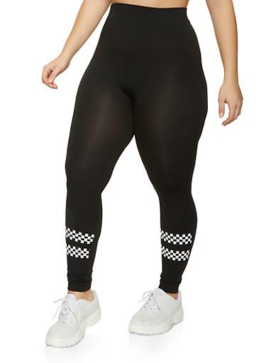 Plus Size Checkered Detail Seamless Leggings,BLACK/WHITE,large