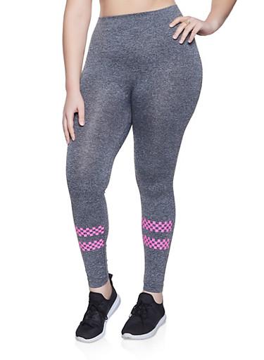 Plus Size Checkered Trim Leggings,HEATHER,large