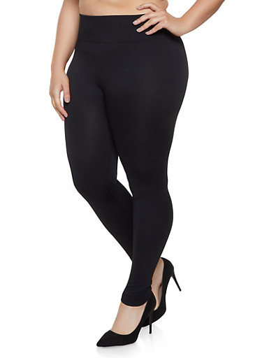 Plus Size Fleece Lined Leggings | 1969062908066,BLACK,large