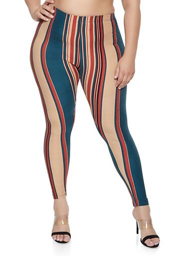 Plus Size Striped Soft Knit Leggings,GREEN,large