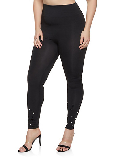 Plus Size Faux Pearl Studded Leggings,BLACK,large