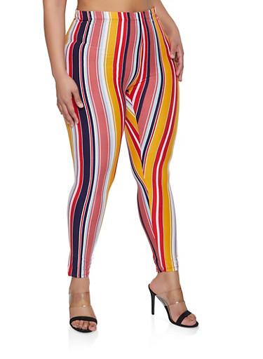 Plus Size Striped Soft Knit Leggings,MUSTARD,large