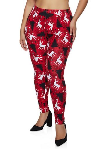 Plus Size Reindeer Plaid Leggings,RED,large