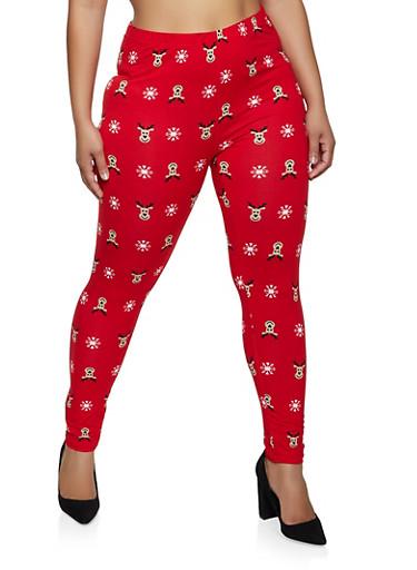 Plus Size Reindeer Leggings,RED,large