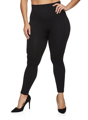 Plus Size Striped Fleece Lined Leggings,BLACK,large