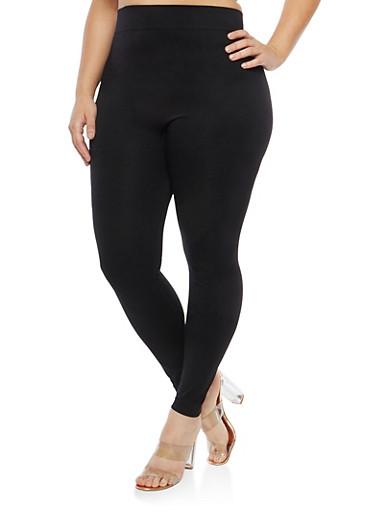 Plus Size Black Push Up Leggings,BLACK,large