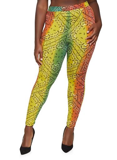 Plus Size Bandana Print Leggings,GREEN,large