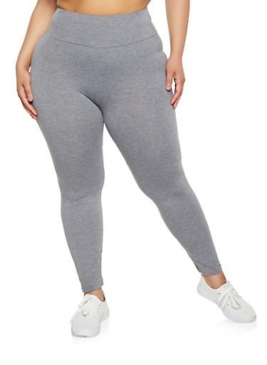 Plus Size Solid Basic Leggings