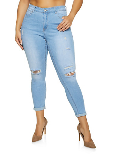 Plus Size WAX Solid Distressed Push Up Jeans,LIGHT WASH,large