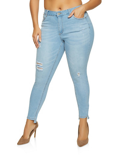 Plus Size WAX Push Up Ripped Skinny Jeans,LIGHT WASH,large